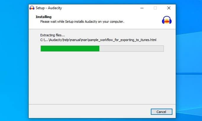 Audacity installer file
