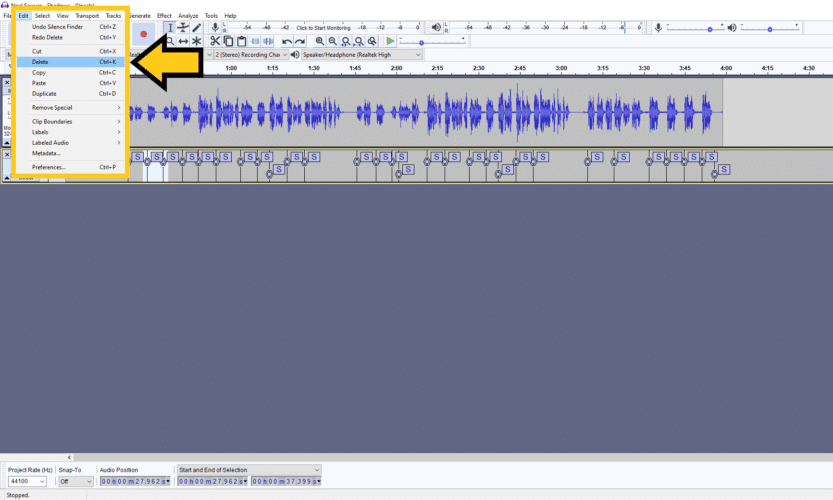 Deleting labels in audacity