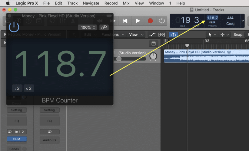 Double Click The BPM Counter In Logic Pro X