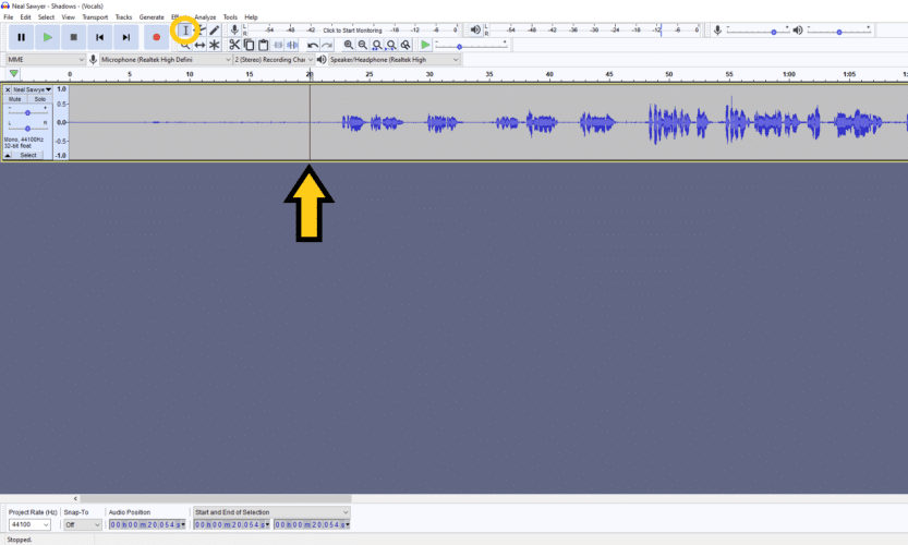 automatically split audio in audacity