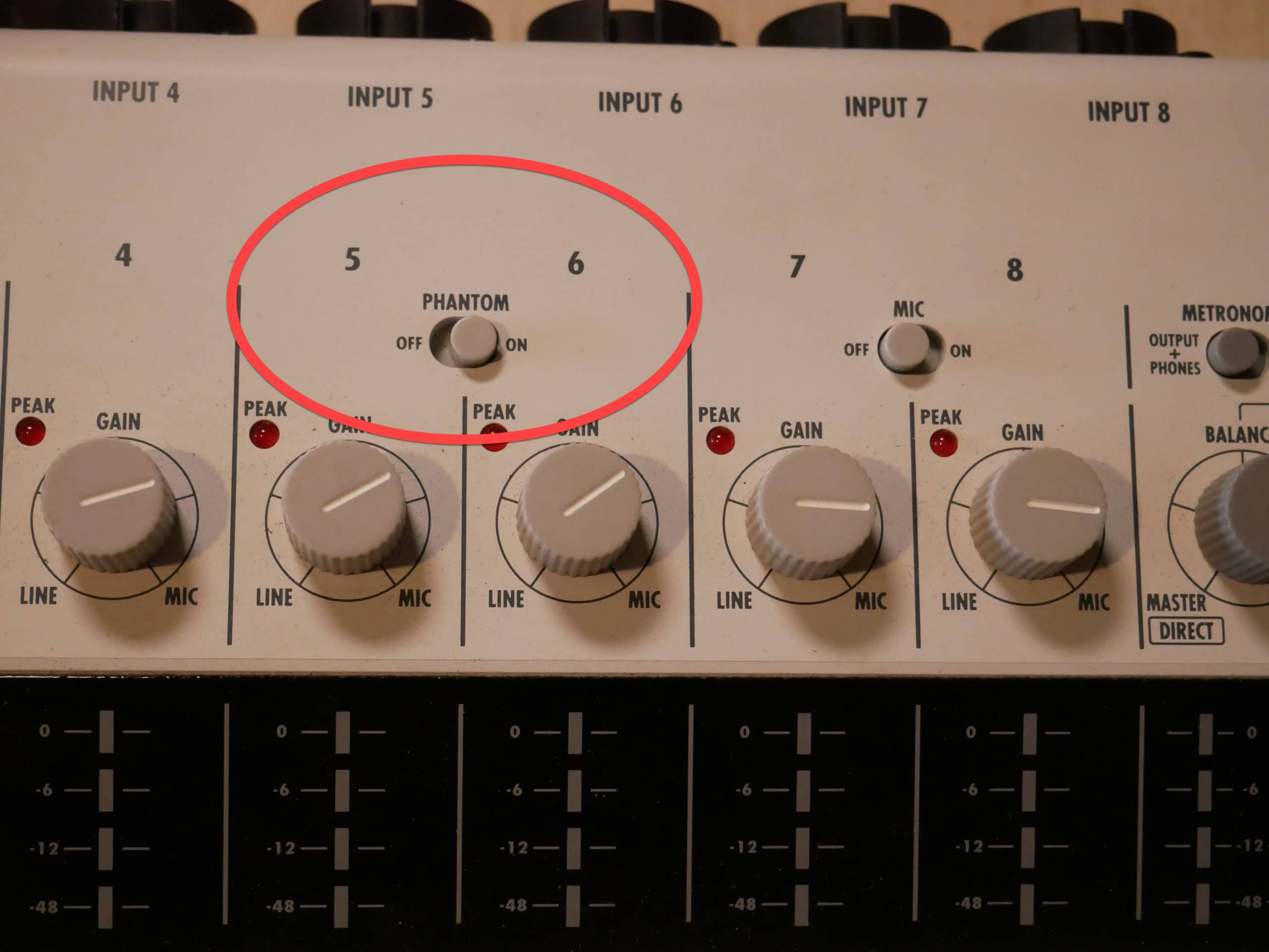 phantom power from a mixer