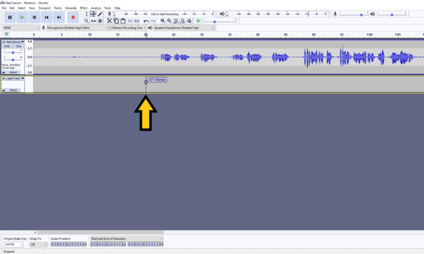 placing labels in audacity
