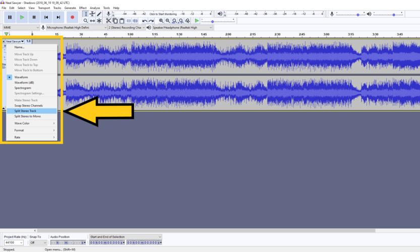 split stereo track in audacity
