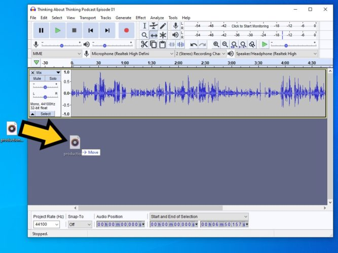 drag and drop audio file into the open audacity project