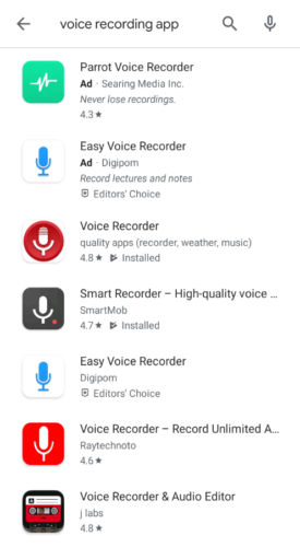 Search for a voice recording app