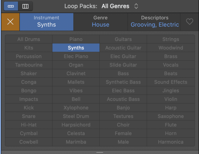 choose instrument and genre types