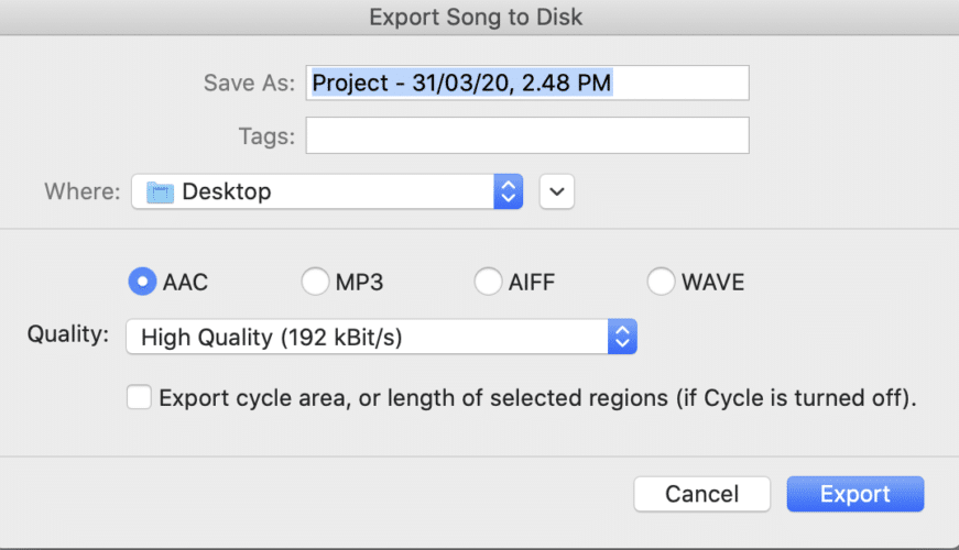 how to export song to disk