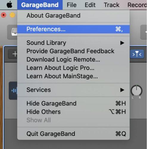 GarageBand preferences