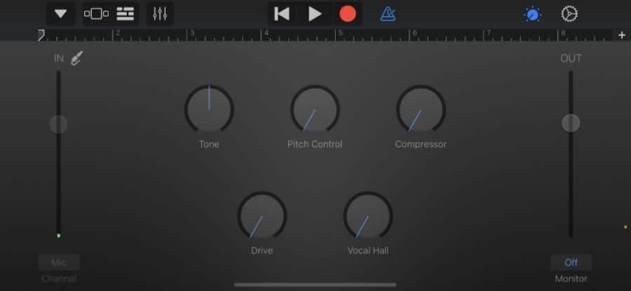 GarageBand controls