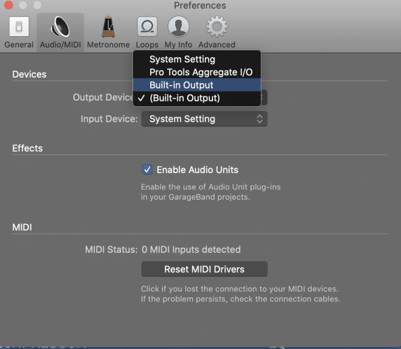 Navigate to the Audio MIDI tab
