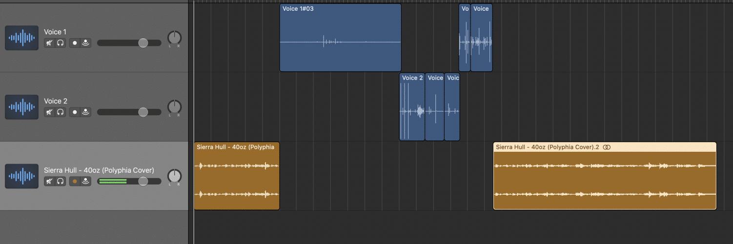 arranging audio tracks in GarageBand