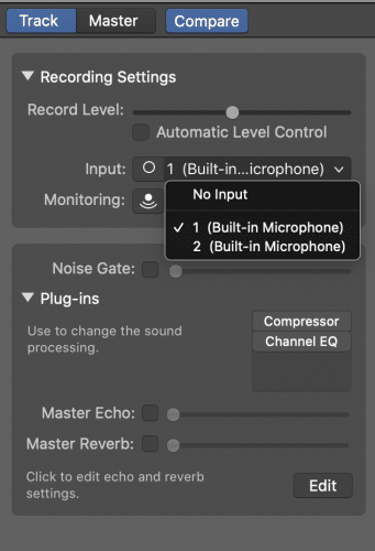 correct microphone input