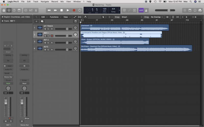 import finished mix to a new audio track in Logic