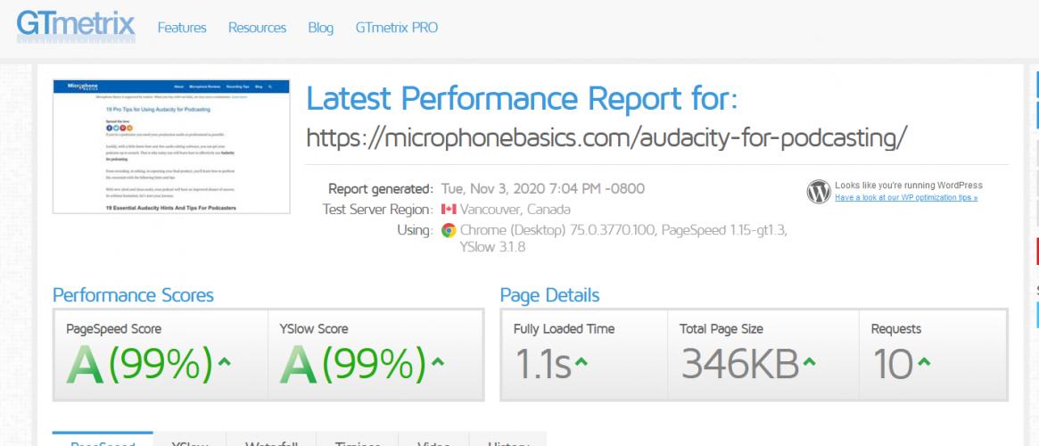GTmetrix latest performance report