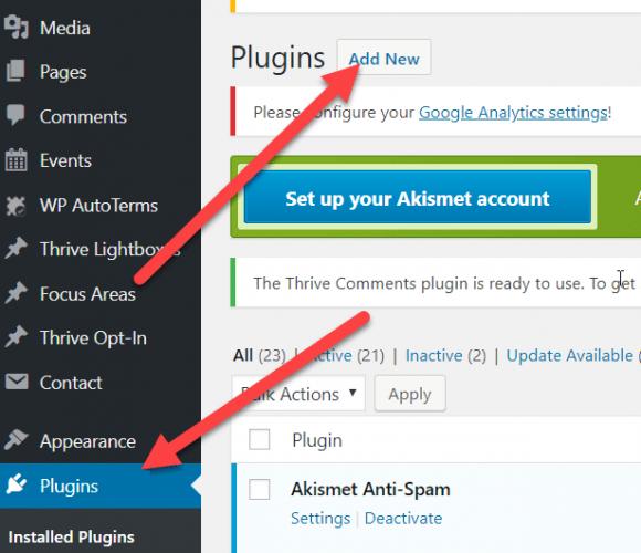 Plugins click add new